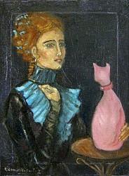 Dama z różowym kotem