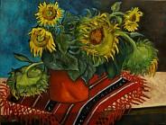 Słoneczniki w czerwonym garnku